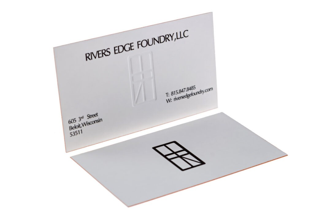 silk business cards with embossing
