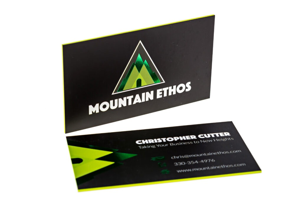 neon colored edge business cards pantone pms