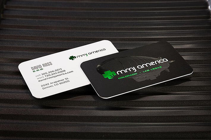 medical business card with green foil